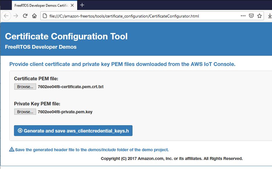 FreeRTOS Certificate Configuration Tool