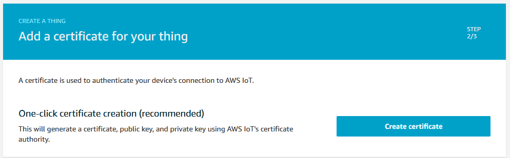 AWS Thing Create Certificate