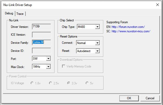 Keil Project Options > Nu-Link Driver Setup