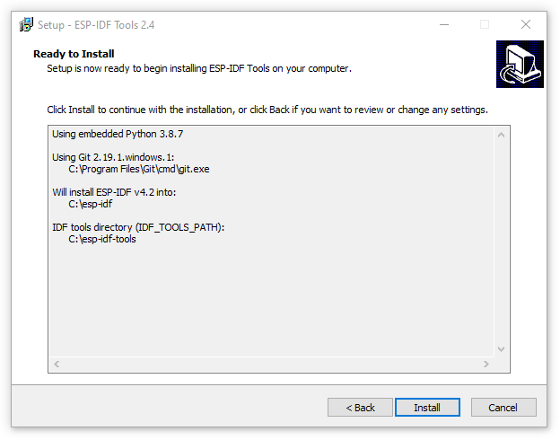 ESP-IDF Tools Installer - Summary