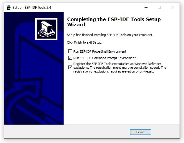 ESP-IDF Tools Installer - Finish