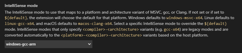 Visual Studio Code - C/C++ Configuration - IntelliSense Mode