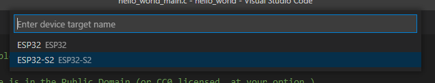 Visual Studio Code - Set Espressif Device target