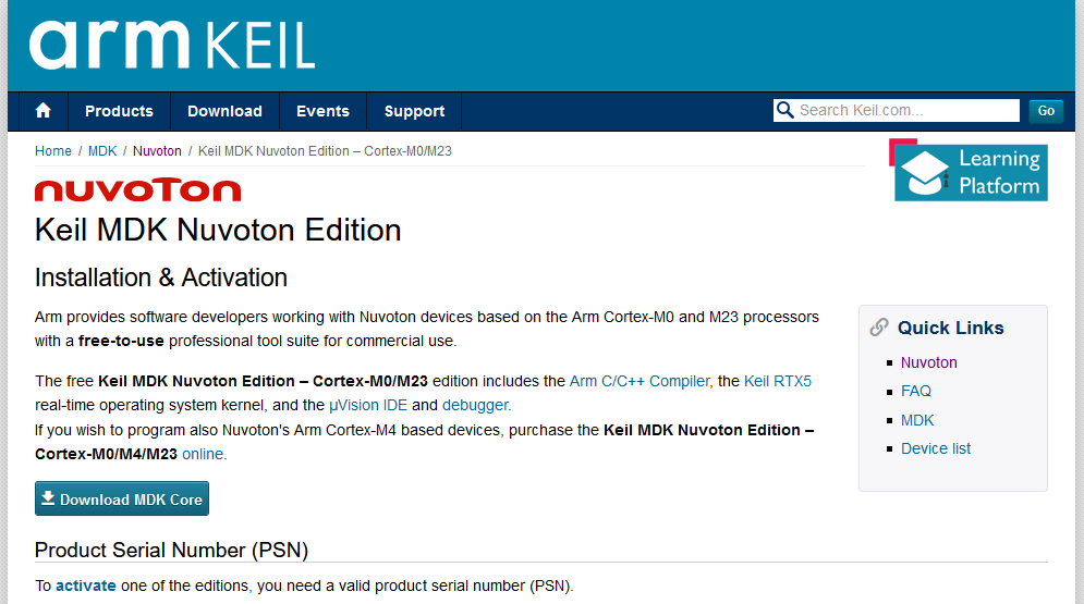 ARM Keil Nuvoton Edition Download