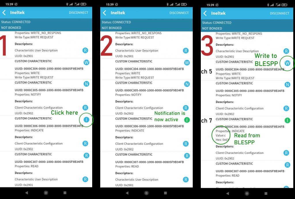 BLE Scanner App Characteristics Screenshot